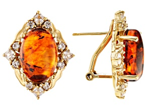 Orange amber 18k yellow gold over silver earrings