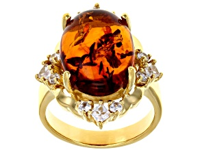 Orange amber 18k yellow gold over silver ring