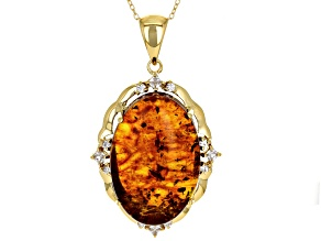 Orange Amber 18k Gold Over Silver Pendant With Chain .91ctw