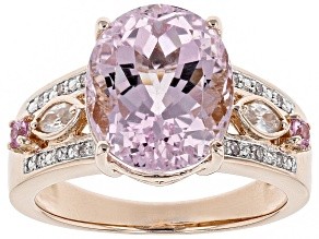 Pink kunzite 18k rose gold over sterling silver ring 6.08ctw