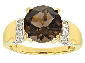 Brown Smoky Quartz 18k Yellow Gold Over Sterling Silver Ring 3.14ctw