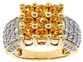 Orange spessartite garnet 18k yellow gold over silver ring