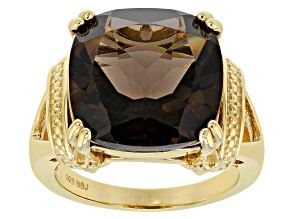 Brown smoky quartz 18k yellow gold over silver ring 7.56ct