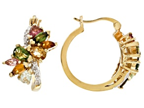 Multi-tourmaline 18k gold over silver hoop earrings 1.93ctw