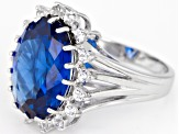 Lab created blue spinel rhodium over silver ring 8.71ctw