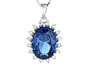 Blue Lab Created Spinel Rhodium Over Sterling Silver Pendant With Chain 8.70ctw