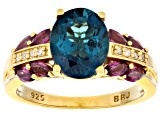 London Blue Topaz 18k Gold Over Silver ring 3.43ctw