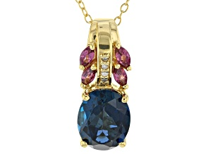 London Blue Topaz 18k Gold Over Silver Slide With Chain 3.07ctw