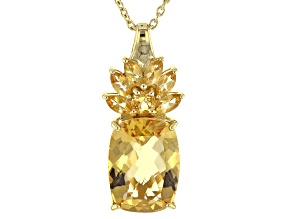 Yellow citrine 18k yellow gold over silver pendant with chain8.20ctw