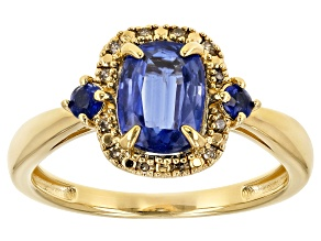 Blue kyanite 18k yellow gold over sterling silver ring 1.68ctw