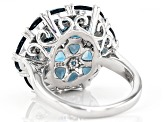 London blue topaz rhodium over sterling silver ring 6.18ctw