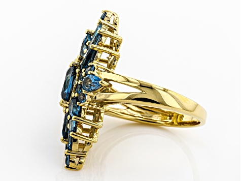 Blue topaz 18k gold over silver ring 3.78ctw