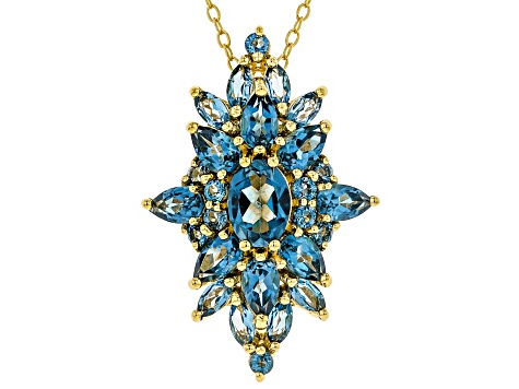 Blue topaz 18k gold over silver pendant with chain 3.78ctw