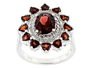 Red garnet rhodium over silver ring 3.32ctw