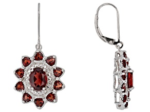 Red garnet rhodium over silver earrings 5.06ctw