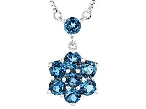 Blue topaz rhodium over silver necklace 1.36ctw