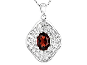 Red Garnet Rhodium Over Sterling Silver Pendant With Chain 2.39ctw