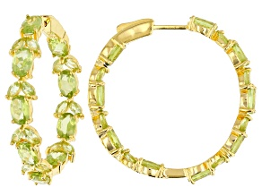 Green peridot 18k gold over silver earrings 9.57ctw