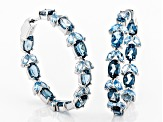 Blue topaz rhodium over silver earrings 10.01ctw