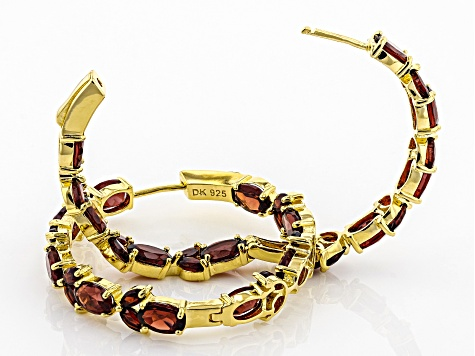 Red garnet 18k yellow gold over silver earrings 11.80ctw