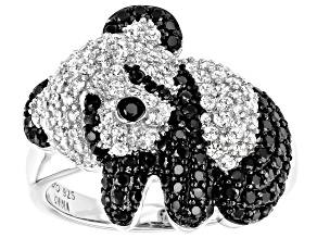 Black spinel Rhodium Over Sterling Silver Panda Ring