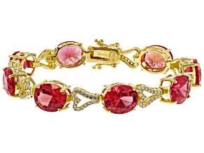 Orange Lab Created Padparadscha Sapphire 18k Yellow Gold Over Sterling Silver Bracelet 41.50ctw