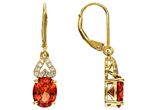 Orange Lab Created Padparadscha Sapphire 18k Yellow Gold Over Sterling Silver Earrings 3.95ctw