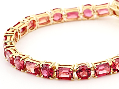 Orange Lab Created Padparadscha Sapphire 18k Yellow Gold Over Sterling Silver Bracelet 24.94ctw