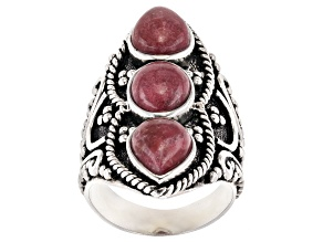 Red Thullite Rhodium Over Sterling Silver Ring