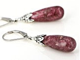 Red Thulite Rhodium Over Silver Earrings