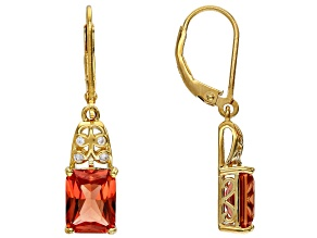 Orange Lab Created Padparadscha Sapphire 18k Gold Over Sterling Silver Dangle Earrings 4.91ctw
