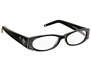 Pre-Owned 2.00 Strength Black Frame with Black Swarovski Elements ™ Crystal Reading Glasses