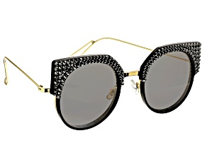 Pre-Owned Black and Metal Frame with Black Swarovski Elements ™ Crystal Sunglasses