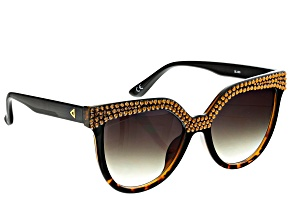 Pre-Owned Brown Injection Frame with Brown Swarovski Elements ™ Crystal Sunglasses