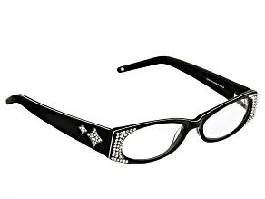 Pre-Owned Swarovski Elements™  Crystal Black Frame Reading Glasses  2.00 Strength