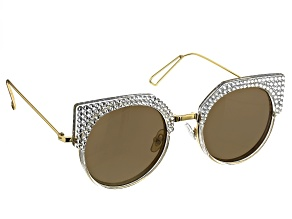 Pre-Owned Clear and Metal Frame with White Swarovski Elements ™ Crystal Sunglasses