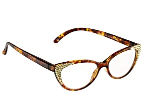 Pre-Owned 2.50 Strength Brown  Frame with White Crystal Accent Reading Glasses