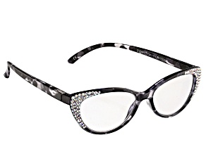 Pre-Owned 2.50 Strength Black  Frame with White Swarovski Elements™ Crystal Reading Glasses
