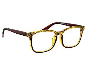 Pre-Owned  Swarovski Elements™ Crystal Brown Frame Reading Glasses 1.50 Strength