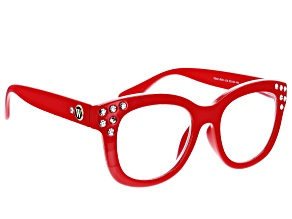 Pre-Owned Charles Winston for Bella Luce® Red Frame and Crystals Reading Glasses Strength 2.5