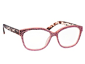 Pre-Owned Pink Crystal, Pink and Brown Leopard Frame Reading Glasses 1.50 Strength