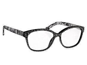 Pre-Owned Black Crystal, Black and White Marble Frame Reading Glasses 2.50 Strength