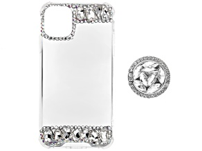Pre-Owned White and Iridescent Crystals iPhone 12 Cell Phone Case with Pop Socket