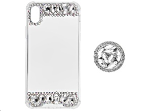 Pre-Owned White and Iridescent Crystals iPhone XR Cell Phone Case with  Pop Socket