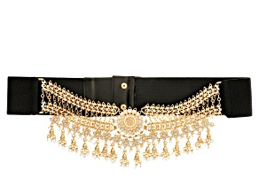 Pre-Owned OFF PARK ® COLLECTION WHITE CRYSTAL GOLD TONE LARGE STATEMENT BELT