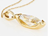 White Fabulite Strontium Titanate 10k Gold Pendant With Chain 3.52ctw