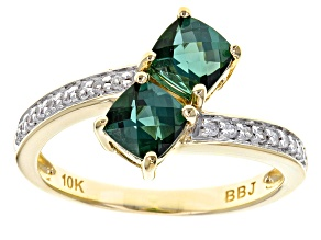 Green Tourmaline 10k Yellow Gold Ring 1.24ctw