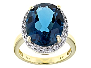 London Blue Topaz 10k Yellow Gold Ring 10.54ctw