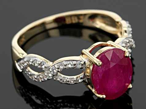 Red Ruby 10k Yellow Gold Ring 2.12ctw