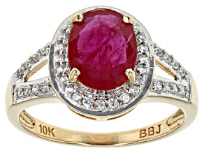 Red Ruby 10k Yellow Gold Ring 1.77ctw